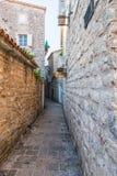 Oude Budva Huizen, straten en stegen montenegro royalty-vrije stock foto's