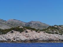 Oude bunkers van een Kroatisch eiland Royalty-vrije Stock Afbeelding
