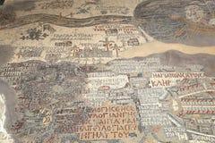 Oude byzantijnse kaart van Heilig Land op vloer van Madaba St George Basilica, Jordanië Stock Foto