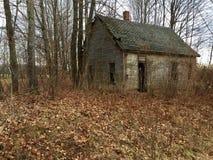 Oude cabine in het hout in Maine stock fotografie