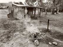 Oude cabine zwart-wit Australië Stock Foto
