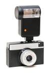 Oude camera met een flits Stock Afbeeldingen