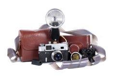 Oude camera met flits Stock Foto's