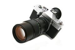 Oude camera met telelens Stock Afbeelding