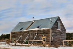 Oude Canadese schuur in de winter Royalty-vrije Stock Afbeeldingen