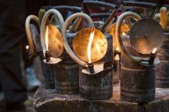 Oude carbidelampen royalty-vrije stock afbeelding