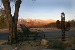 Oude carnegy wagen en cactus gemaakt van metaal tegen royalty-vrije stock foto