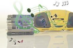 Oude cassettebanden en cassettespeler en correcte muzieknota Stock Afbeelding