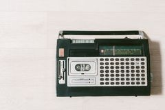 Oude cassettebandrecorder Hoogste mening Stock Fotografie