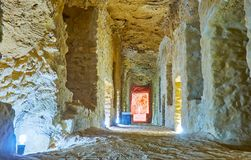 In oude catacomben, Serapeum, Alexandrië, Egypte stock afbeeldingen