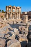 Oude Celsius-Bibliotheek in Ephesus Turkije Stock Afbeeldingen