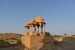 Oude cenotaven in bada baag jaisalmer Rajasthan India stock foto