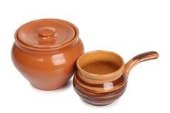 Oude ceramische pot drie stock afbeelding