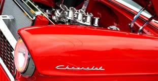 Oude Chevrolet-motor van een auto De auto toont, Manassas, VA royalty-vrije stock foto's