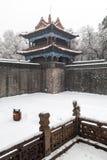 Oude Chinese architectuur in de winter Royalty-vrije Stock Fotografie