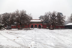 Oude Chinese architectuur in de winter Stock Foto