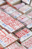 Oude Chinese Overheidsofficiële zegels, Panjiayuan-Markt, Peking, China Royalty-vrije Stock Foto's
