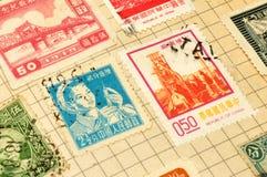 Oude Chinese Zegels in Album Royalty-vrije Stock Foto's