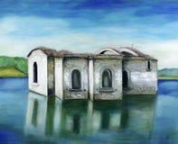 Oude churchin het meer stock afbeeldingen