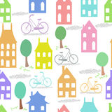Oude cityscape van Holland naadloze achtergrond Het kleurrijke Nederlands Stock Afbeelding