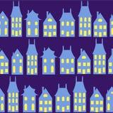 Oude cityscape van Holland naadloze achtergrond Het kleurrijke Nederlands Stock Fotografie