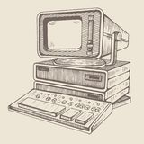 Oude computer, één van allereerste vector illustratie