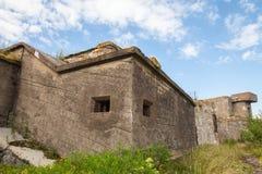 Oude concrete bunkers op Totleben-forteiland Stock Afbeeldingen