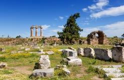 Oude Corinth, de Peloponnesus, Griekenland Stock Foto's