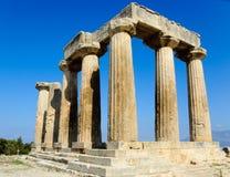 Oude Corinth - Tempel van Apollo Royalty-vrije Stock Afbeeldingen