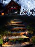 Oude crypt in de Halloween-nacht Royalty-vrije Stock Afbeeldingen