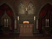 Oude crypt met kaarsen Stock Foto's