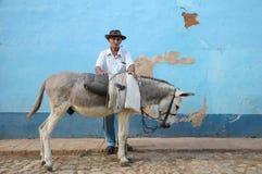 Oude Cubaanse mens en ezel royalty-vrije stock foto