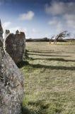 Oude cultic monolits n Bretagne, Frankrijk Stock Foto