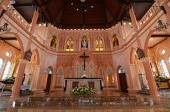 Oude dag Katholieke Kerk in Thailand stock foto