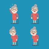 Oude Dame De oma in Verschillende 4 stelt Stock Foto's