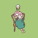 Oude dame die witte kat houden Royalty-vrije Stock Foto's