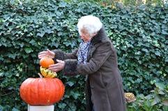 Oude dame in evenwicht brengende pompoenen Royalty-vrije Stock Foto