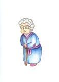 Oude dame in glazen met stok door waterverf Mooie oude vrouw clipart royalty-vrije illustratie