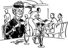 Oude dame het drinken thee stock illustratie