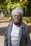 Oude dame in het park stock foto