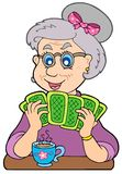 Oude dame het spelen pook Royalty-vrije Stock Foto's