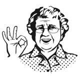 Oude dame met glazen schets vector illustratie