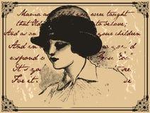 Oude dameprentbriefkaar Stock Afbeeldingen