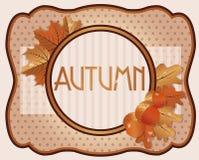 Oude de herfstkaart met eikels en eiken bladeren Stock Afbeelding