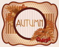 Oude de herfstprentbriefkaar met lijsterbessenbes Royalty-vrije Stock Fotografie