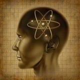 Oude de hersenen van het de moleculesymbool van het atoom Stock Foto