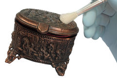 Oude de juwelendoos van het koper stock afbeeldingen