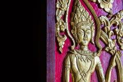 Oude de Muurschilderingengel van de Thaildeur Royalty-vrije Stock Fotografie