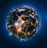 Oude de Nachtplaneet van Riga Brugwegen in stad 360 van Riga VR-Hommelbeeld voor Virtuele werkelijkheid Stock Foto's