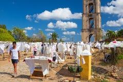 Oude de slavernijtoren in Manaca Iznaga dichtbij Trinidad, Cuba Stock Foto's